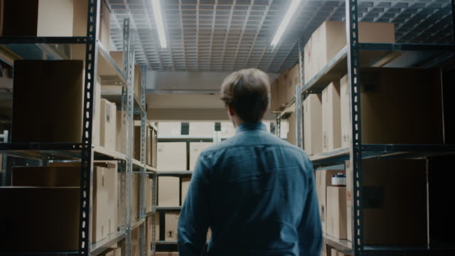 Worker Walks Through Warehouse Storeroom with Rows of Shelves Full Cardboard Boxes, Parcels, Packages Ready For Shipment. Worker Walks Through Warehouse Storeroom with Rows of Shelves Full Cardboard Boxes, Parcels, Packages Ready For Shipment. Shot on RED EPIC-W 8K Helium Cinema Camera. post structure stock videos & royalty-free footage