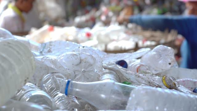 arbetstagarna är att sortera ut plastflaskor för att återvinna i nya flaskor. - pet bottles bildbanksvideor och videomaterial från bakom kulisserna