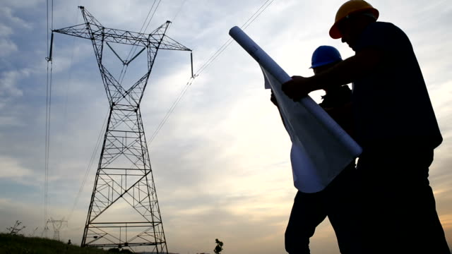 Workers at electricity station video