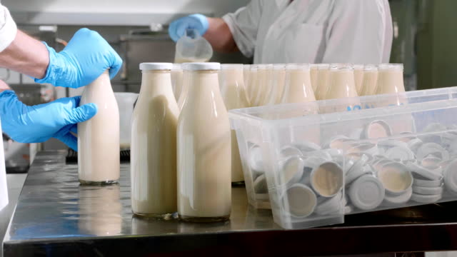 füllen milch in flaschen von händen in milch fabrik arbeiter - milchkrug stock-videos und b-roll-filmmaterial