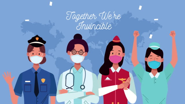 Bидео workers with together we are invincible message campaign