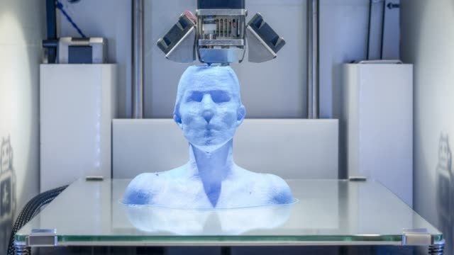 Working 3D printer, printing a human bust - symbol for Artificial Intelligence and Industry 4.0 video