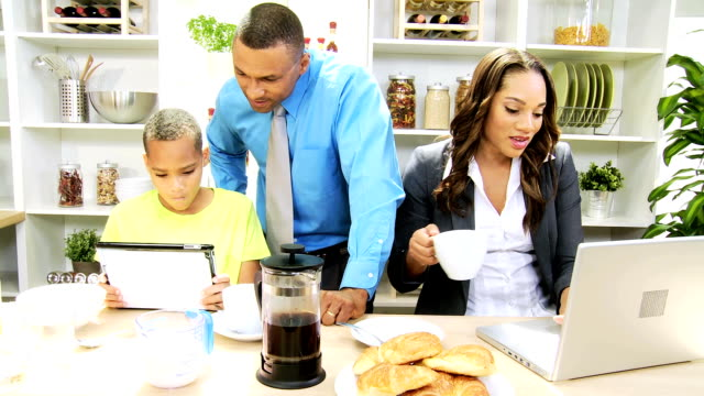 Working Breakfast Young African American Family video