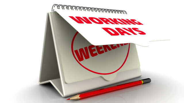 working days and weekend on the calendar - attività del fine settimana video stock e b–roll