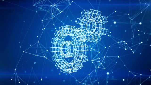 vidéos et rushes de engrenages icône apparaissant dans les nuages du réseau de lignes et de points de travail. symbole, formant des particules. animation 3d par une boucle. une boucle allant de 100 à 500 images. business and technology concept. - rouage