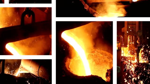 working in a foundry, steel mill - attrezzatura energetica video stock e b–roll