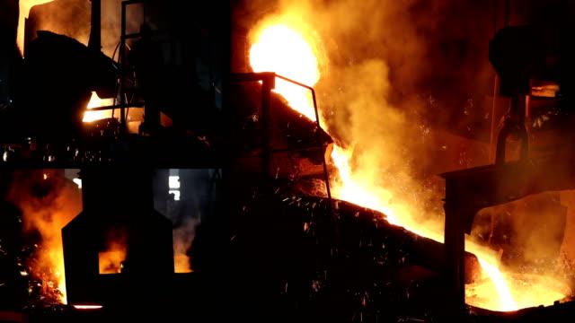 bir döküm, çelik fabrikasında çalışan - demir stok videoları ve detay görüntü çekimi