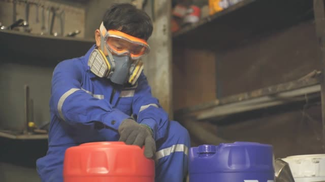 working safety, toxic gas, slow motion - narcotico video stock e b–roll