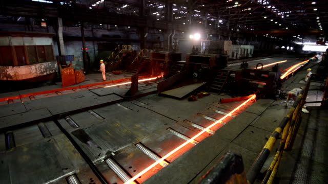working steel rolling factory interior, real time. video