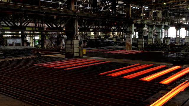 working steel rolling factory interior, time lapse. working steel rolling factory interior, time lapse. steel mill stock videos & royalty-free footage
