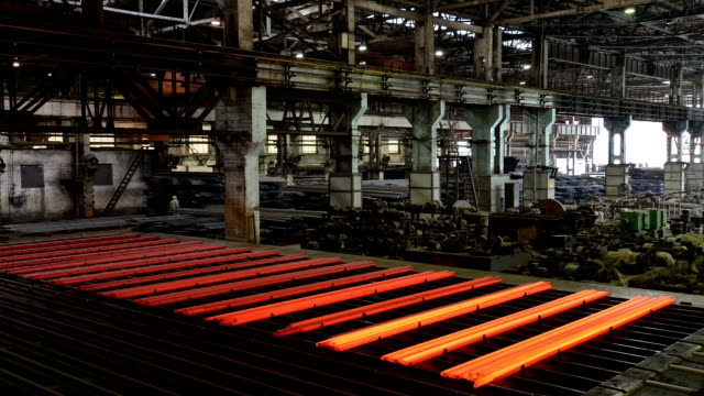 working steel rolling factory interior, time lapse. working steel rolling factory interior, time lapse. foundry stock videos & royalty-free footage