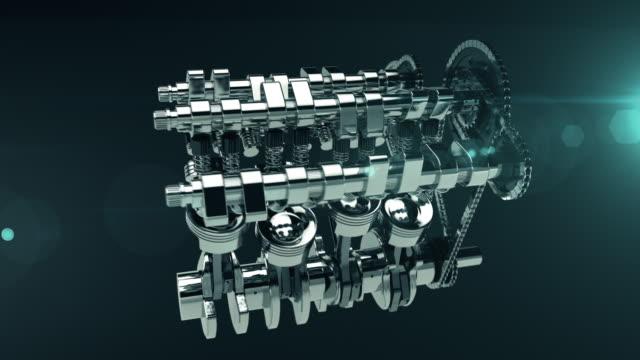 Çalışma V8 motoru 3D animasyon video