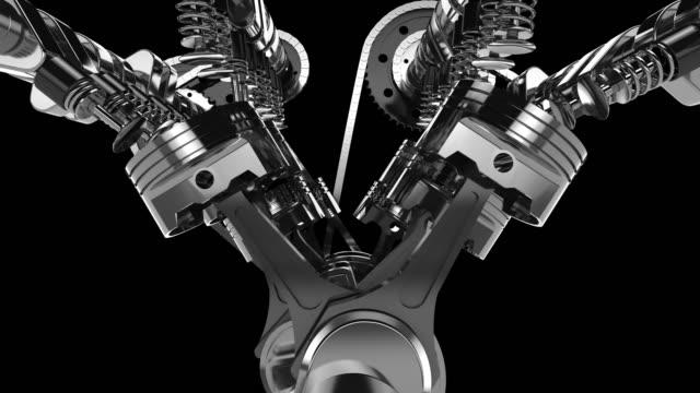 рабочая v8 двигатель 3d-анимации - часть машины стоковые видео и кадры b-roll