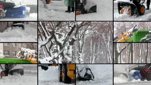 vídeos y material grabado en eventos de stock de trabajar con soplador de nieve después de la tormenta invernal en la ciudad - nieve amontonada