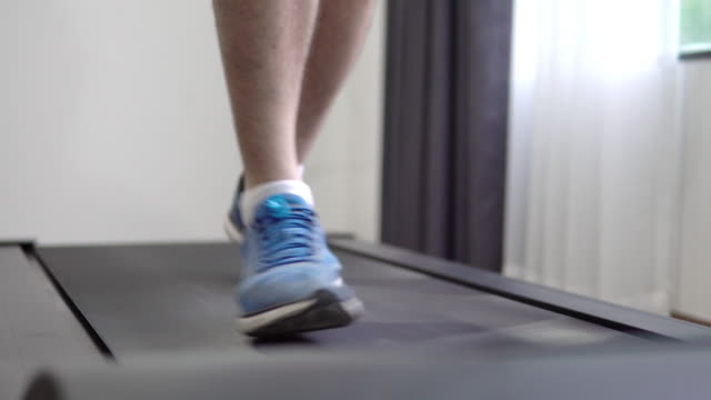 workout on treadmill. - runner rehab gym video stock e b–roll