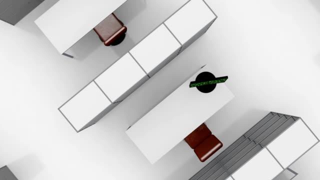 arbeitsplätze in einem großen open plan-büro - dominanz stock-videos und b-roll-filmmaterial