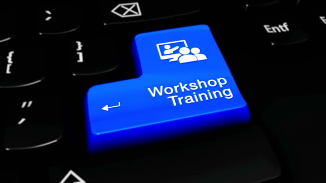 vídeos de stock e filmes b-roll de workshop training round motion on computer keyboard button. - fundo oficina