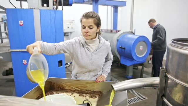 workwoman controlling quality of olive oil   on artisanal olive oil factory - декантер стоковые видео и кадры b-roll