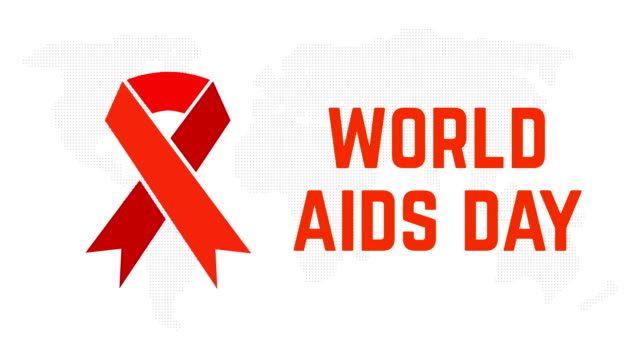 World Aids Day. Animation of the red ribbon on earth map background video