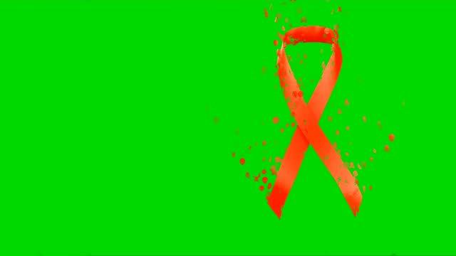 światowy dzień aids - awareness sign czerwona wstążka z miejscem na kopiowanie tekstu na zielonym ekranie tła. świadomość aids. world aids day concept.red ribbon animacja 4k wideo. świat świętuje dzień aids - miesiąc filmów i materiałów b-roll