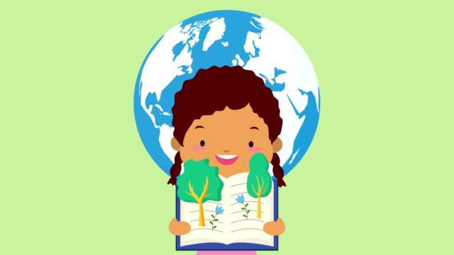world book day celebration med afro liten flicka och skogsträd - digital reading child bildbanksvideor och videomaterial från bakom kulisserna