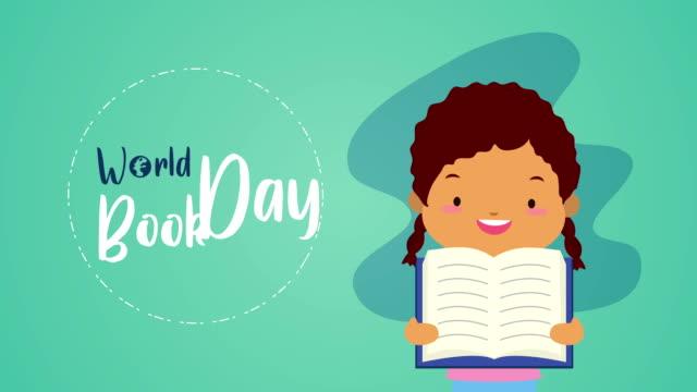 world book day firande med afro liten flicka och bokstäver - digital reading child bildbanksvideor och videomaterial från bakom kulisserna