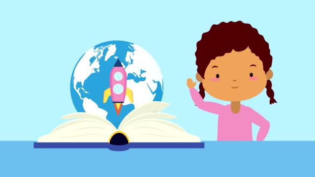 world book day firande med afro liten flicka och planet - digital reading child bildbanksvideor och videomaterial från bakom kulisserna