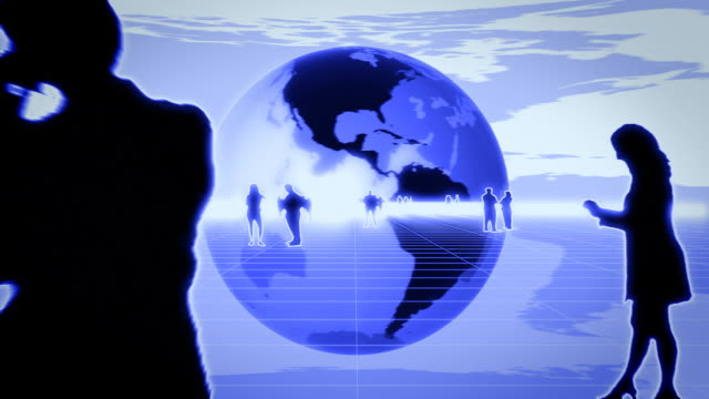 World Business, animated globe, blue video