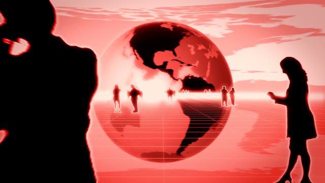 World Business, animated globe, red video