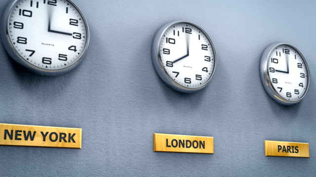 World cities time on office wall clocks World cities time on office wall clocks time zone stock videos & royalty-free footage