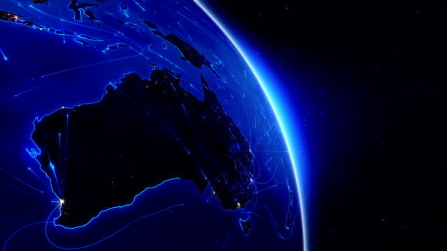 World connections. Aerial, maritime, ground routes and country borders. Australia. video