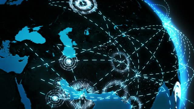 世界の接続にシティライツます。ブルーとブラック。ワールドマップをご用意しています。 - 線点の映像素材/bロール