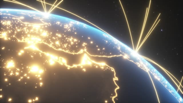 World connections with city lights video