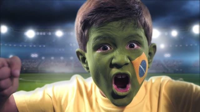 world cup fläkt firar - brasilien flagga bildbanksvideor och videomaterial från bakom kulisserna