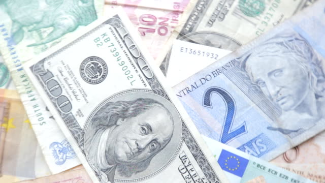 World currency, dollar, Euro, Peso, Real, Lira video