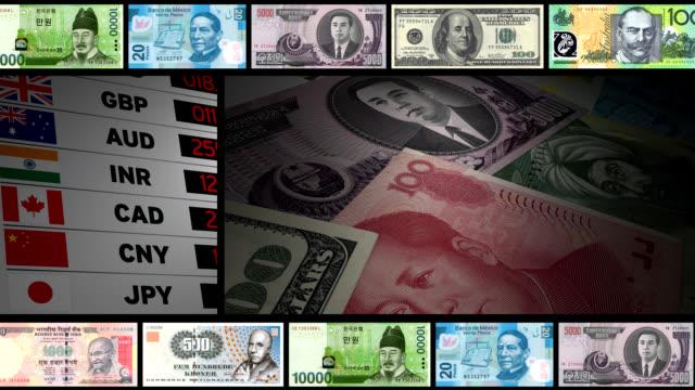 world валюта-монтаж - dollar bill стоковые видео и кадры b-roll
