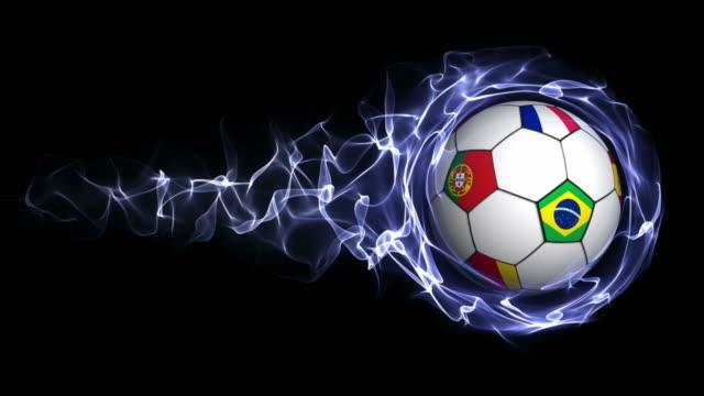 vídeos de stock, filmes e b-roll de bola de futebol com bandeira do mundo abstrato azul em partículas anel, loop - campeonato esportivo