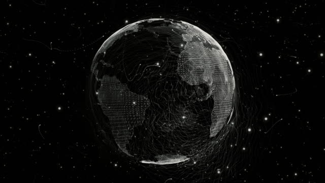 World from a Particle Vortex Loopable animation of a World generated by a particles vortex wire mesh stock videos & royalty-free footage