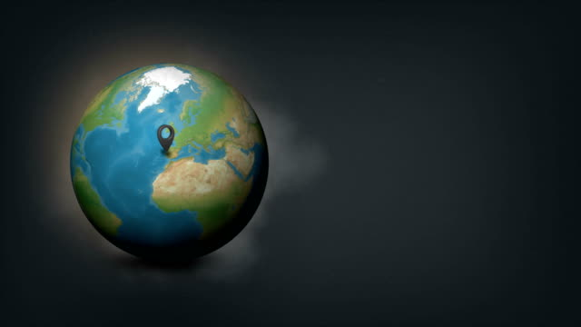 vídeos de stock e filmes b-roll de 4k world globe map with portugal country map - portugal map