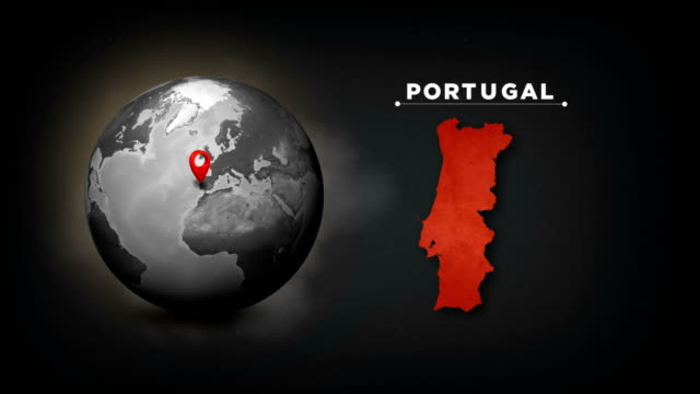 vídeos de stock e filmes b-roll de 4k world globe map with portugal country map - mapa portugal