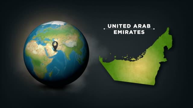 vídeos de stock, filmes e b-roll de mapa do globo 4k world com mapa de país dos emirados árabes unidos - país área geográfica