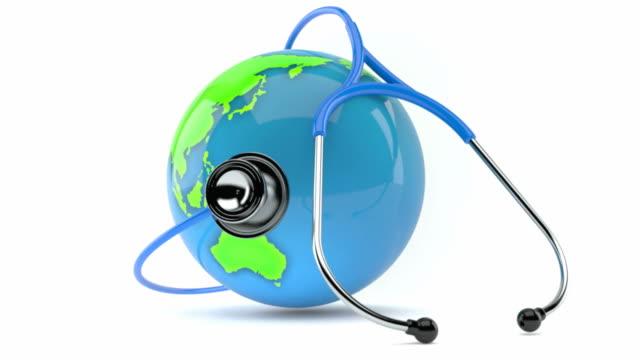 聴診器で地球儀 - 聴診器点の映像素材/bロール