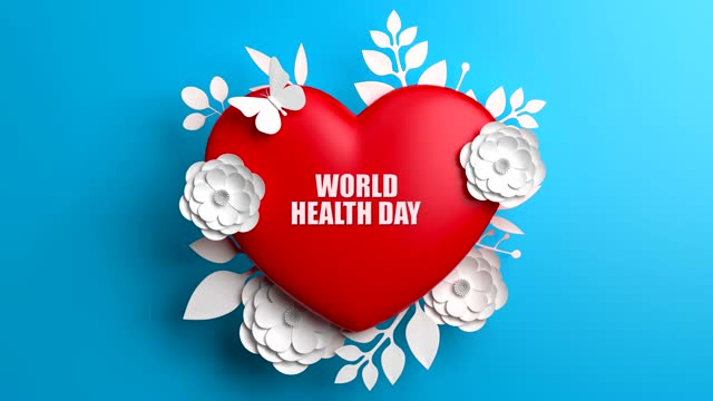 World Health Day Concept With Flowers And Heart Shape On Blue Background World Health Day, Abstract, Background, Concept world health day stock videos & royalty-free footage