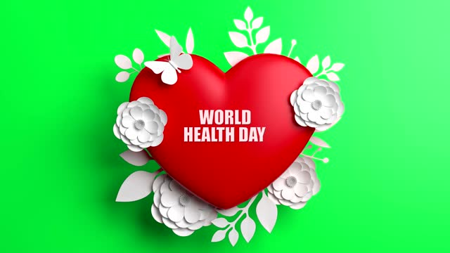 World Health Day Concept With Flowers And Heart Shape On Green Background World Health Day, Concept, Background world health day stock videos & royalty-free footage