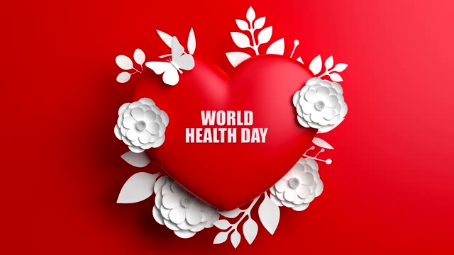 World Health Day Concept With Flowers And Heart Shape On Red Background World Health Day, Concept, Background world health day stock videos & royalty-free footage