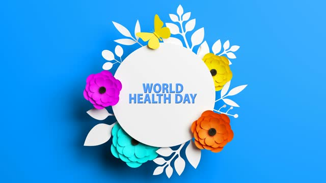 World Health Day Concept With Flowers On Blue Background World Health Day, Abstract, Background world health day stock videos & royalty-free footage