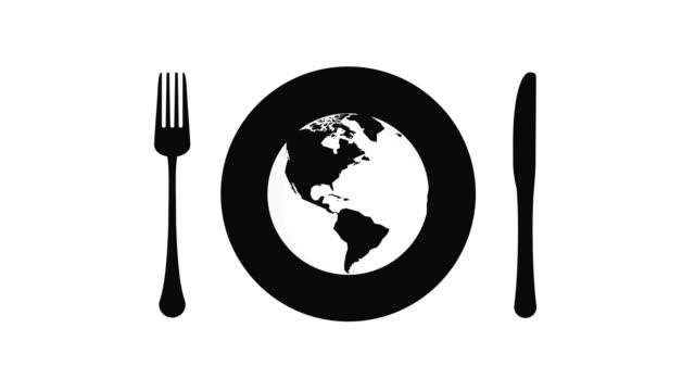 world kitchen background - icona posate video stock e b–roll