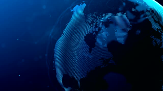world made with white dots spinning on blue background - roteare video stock e b–roll
