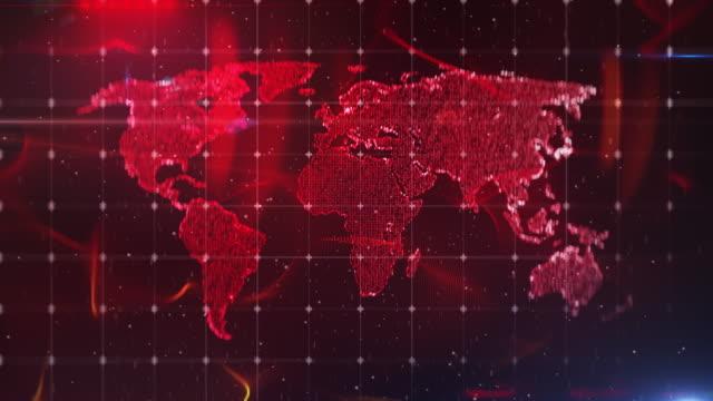 世界地図抽象背景、光沢のある赤、ニュースレポート、イントロ、放送スタジオ - community activism点の映像素材/bロール