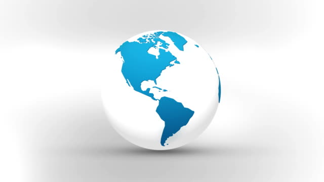 world map and globe rotating in an endless loop. - glass world video stock e b–roll
